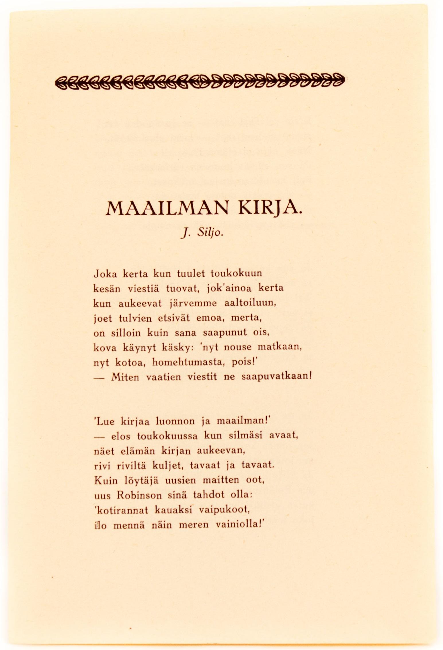 Juhani Siljon kirjoittama runo Maailman kirja